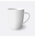realistic white mug isolated on transparent vector image vector image