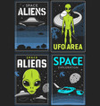 retro posters with alien and ufo area cards vector image