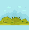 rural hilly landscape with trees and mountains vector image vector image