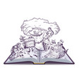 russian tales of pushkin open book vector image vector image