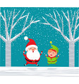 santa claus elf in winter forest jumping with joy vector image vector image