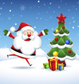 Santa Claus is coming to the Christmas tree vector image