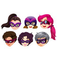 set of female superhero head vector image
