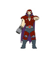 Skull Masked Warrior Pointing Cartoon vector image vector image