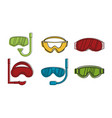 sport glasses icon set color outline style vector image