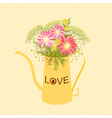 Springtime colorful flower watering can background