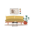 stylish boho interior with comfy yellow couch vector image