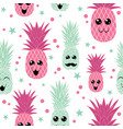 sweet pineapple family seamless repeat pattern vector image vector image
