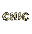 t-shirt print with word chic leopard textured vector image vector image