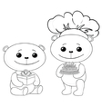 teddy bears with cake and gift box contours vector image