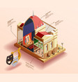 theatre building isometric infographics vector image