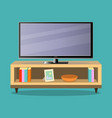 tv and tv table in living room on the green vector image vector image