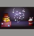 cartoon magician and a rabbit inside a magic hat vector image