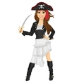 Young woman in pirate costume holding sword vector image
