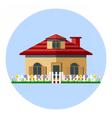 Digital house icon with garden vector image