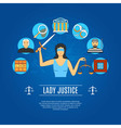 Lady Justice Concept Icons vector image