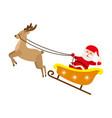 santa claus riding reindeer christmas sleigh vector image