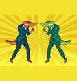 a fight between two businessmen crocodiles vector image