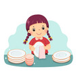 a little girl drying dishes vector image vector image