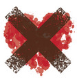 abstract a crossed-out heart with blood splatter vector image