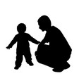 affectionate father looking at his baby walking vector image vector image