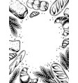 bakery products engraving vector image