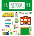 Big school set with school elements school bus vector image