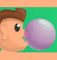 boy bubble gum concept background cartoon style vector image vector image