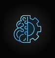 brain with gear blue concept line icon or vector image vector image