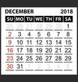 calendar sheet december 2018 vector image vector image
