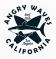 california los angeles - surfing typography vector image vector image