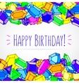 Cartoon doodle gems happy birthday vector image