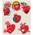 Cheerful and different hearts on the isolated vector image vector image
