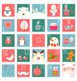 christmas advent calendar with elements in naive vector image vector image