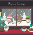 christmas scene background with singing elf vector image