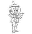 cute boy in suit an astronaut with a rocket vector image vector image