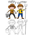 doodle happy farmer character vector image