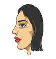 double face abstract girl sketch engraving vector image vector image