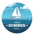 enjoy summer time postcard design sea vector image vector image