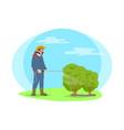 farmer spray chemicals on plants cartoon icon vector image