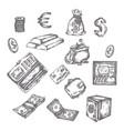 finance money set hand drawn vector image