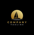golden sunset with sailing yacht logo design vector image