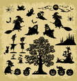 halloween objects and subjects silhouettes vector image vector image