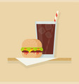 hamburger and drink vector image vector image