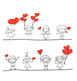 happy kid and love characters vector image vector image