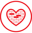 heart and stone wall icon vector image