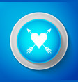 heart with arrow icon isolated on blue background vector image