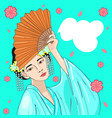 japanese girl with a fan with a traditional vector image