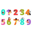 kids numbers children animal on number colorful vector image