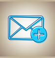 mail sign with add mark sky vector image